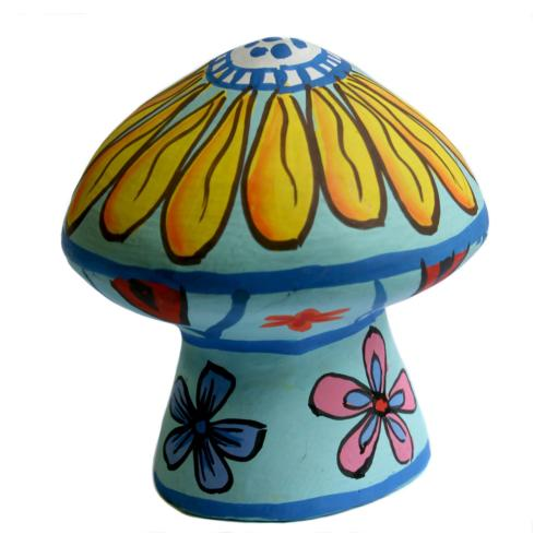 Incense holder, painted clay mushroom shape, assorted colours