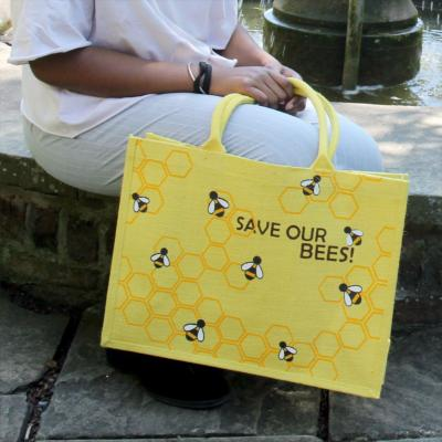 Jute shopping bag, save our bees 32x42x18cm