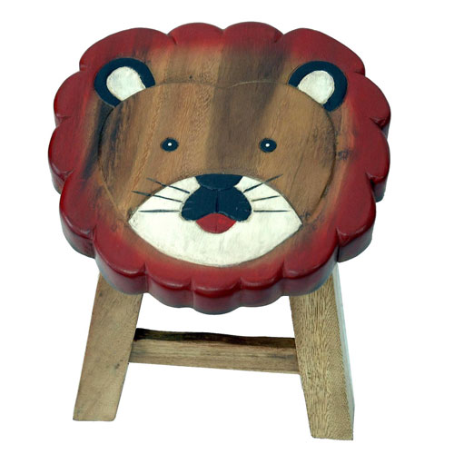 Child's wooden stool - lion