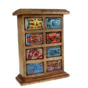 Wooden mini chest, 8 ceramic drawers