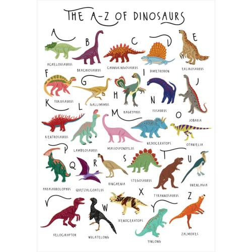 "Greetings card ""A-Z of dinosaurs"" 12x17cm"