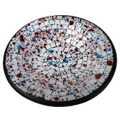 Bowl, mosaic, 28cm white with spots