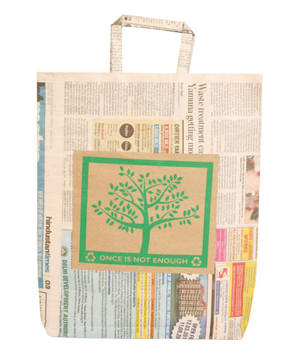 Gift bag recycled newspaper