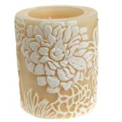 Candle Japanese chrysanthemum white + ivory, 7.5cm recessed