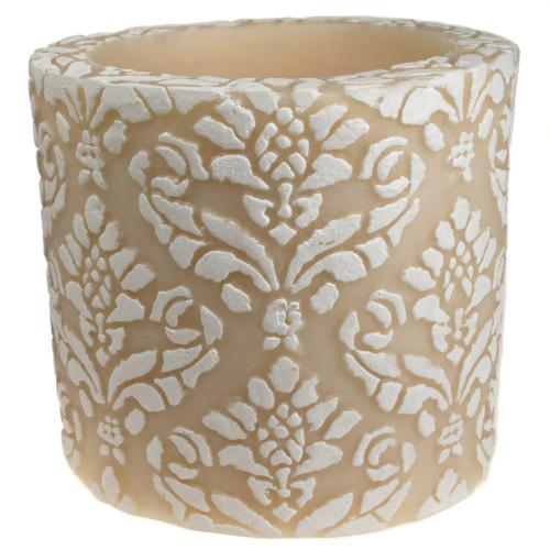 Candle pineapple damask white + ivory, 10cm recessed