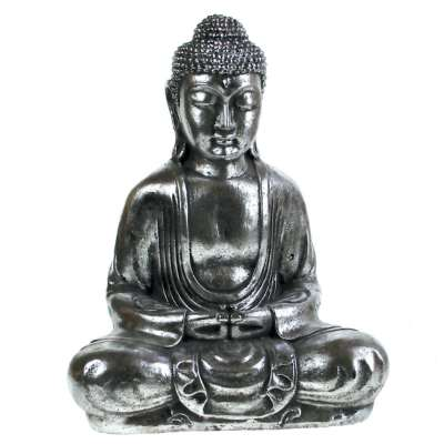Buddha stone cast, silver colour 31cm