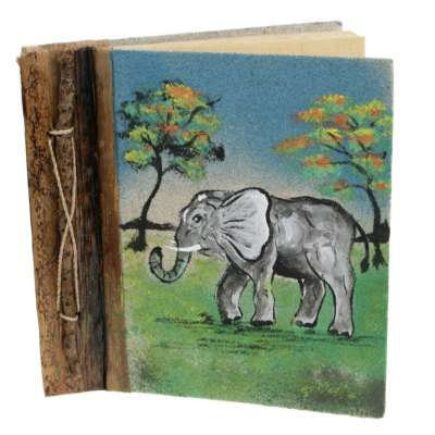 Notebook, sand painting, elephant, 19x19cm