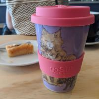 Reusable travel cup, biodegradable, feline fun