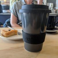 Reusable travel cup, biodegradable, charcoal