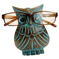 Spectacle stand, mango wood, owl blue