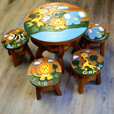 Hand carved African animals childrens table with 4 stools