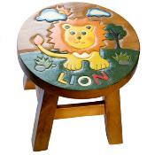 Hand carved child's stool, lion