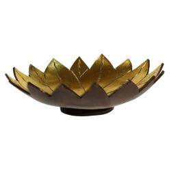 Coconut bowl gold colour lacquer inner, lotus design
