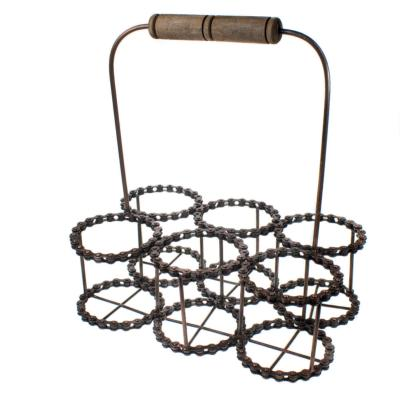 Wine bottle holder (6), recycled bike chain with handle