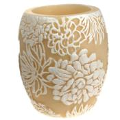 Candle Japanese chrysanthemum white + ivory, 10cm hurricane