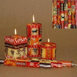 2 hand painted dinner candles, Damisi