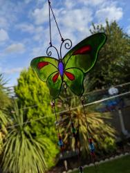 Suncatcher butterfly with beads assorted colours