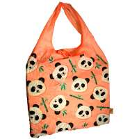 Shopping bag, recycled plastic bottles, panda design