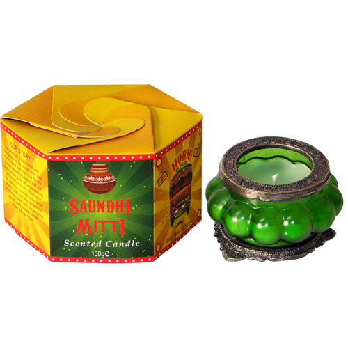 """Great Caravan"" candle in glass, saundhi mitti **"
