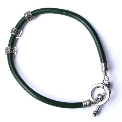 Bracelet (men's/unisex) green with silver coloured clasp