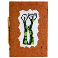 Greetings card, 2 women, brown
