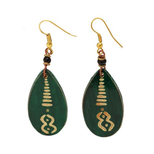 Earrings gourd teardrop + bead, green