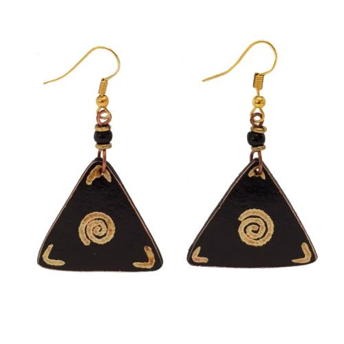 Earrings gourd triangle + bead, black