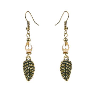Earrings gold colour, leaf