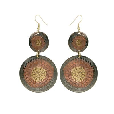 Earrings gold colour, copper 2 circles