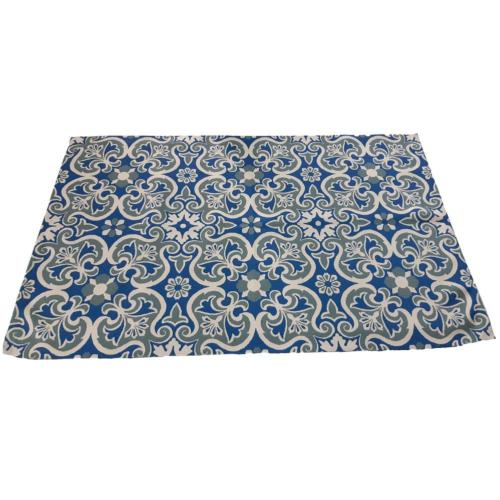 Rug indoor or outdoor, recycled plastic 90 x 150cm blue floral