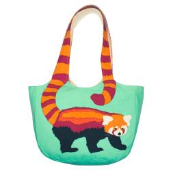 Shoulder bag, cotton, red panda