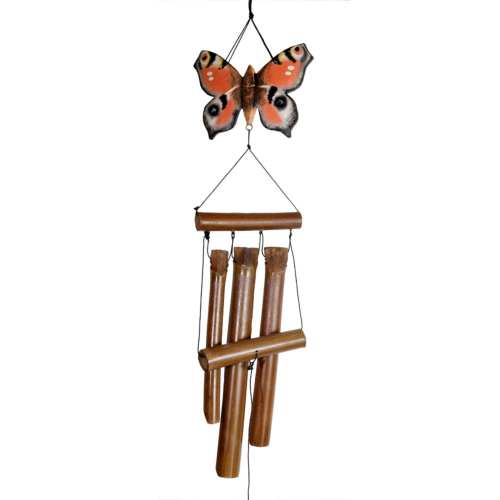 Bamboo windchime butterfly peacock 110cm