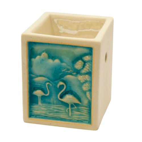Oilburner, rectangular with flamingo design, 9cm height **