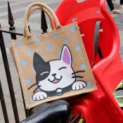 Jute shopping bag, square, cat black & white