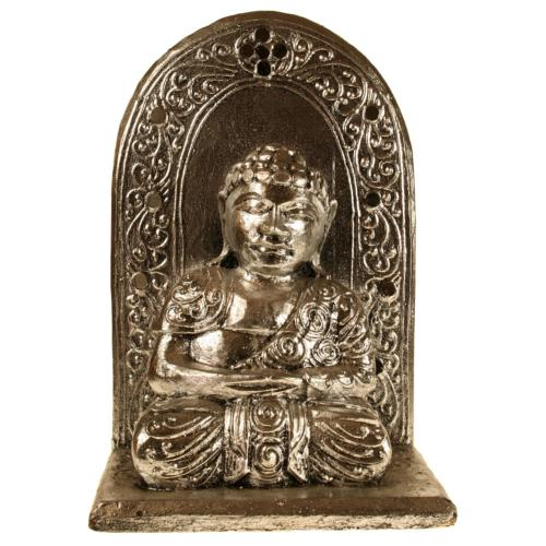 Buddha with wall carved wood silver colour