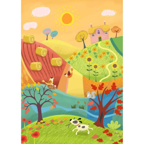 "Greetings card ""Sunny Fields"" 12x17cm"