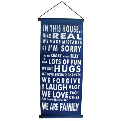 Banner. blue, in this house...
