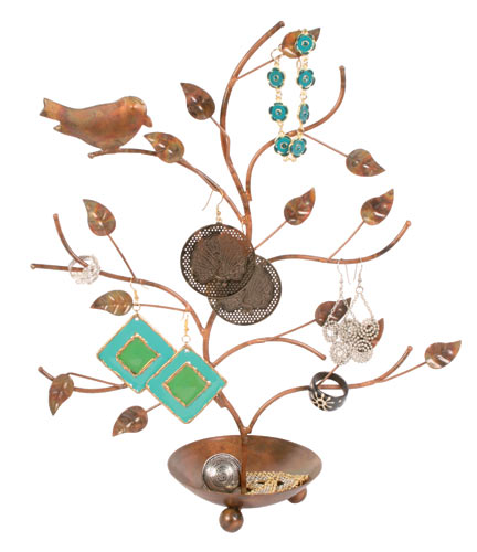 Metal tree with bird, jewellery stand