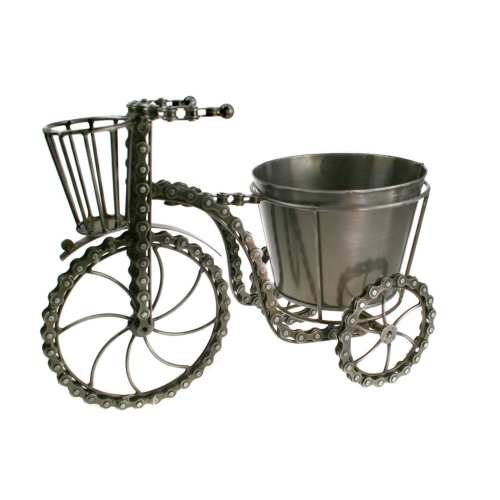 Bicycle plant holder, recycled bike chain
