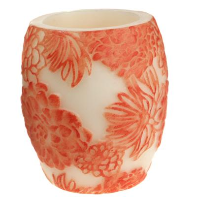 Candle Japanese chrysanthemum ombre + white, 10cm hurricane