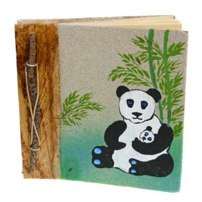Notebook, sand painting, panda