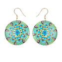 Earrings metal disks, multicoloured, blue flower