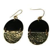 Cow bone oval brass and black earrings