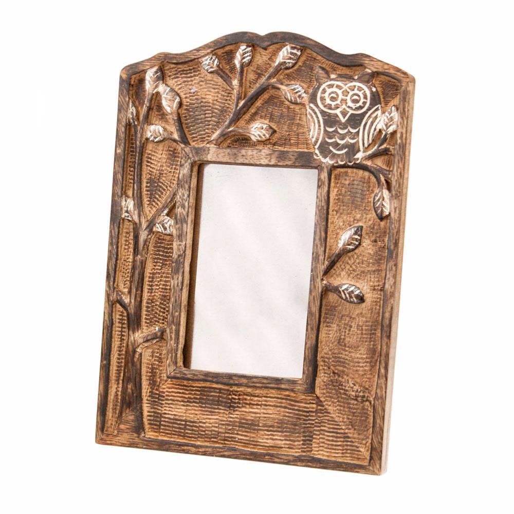 Photo frame, mango wood, owl 20x28cm
