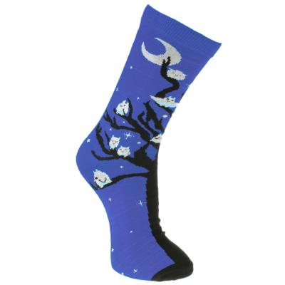 Bamboo socks, owls blue, Shoe size: UK 7-11, Euro 41-47