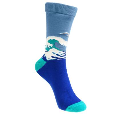 Bamboo socks, seascape & albatross, Shoe size: UK 3-7, Euro 36-41