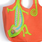 Shoulder bag, cotton, chameleon
