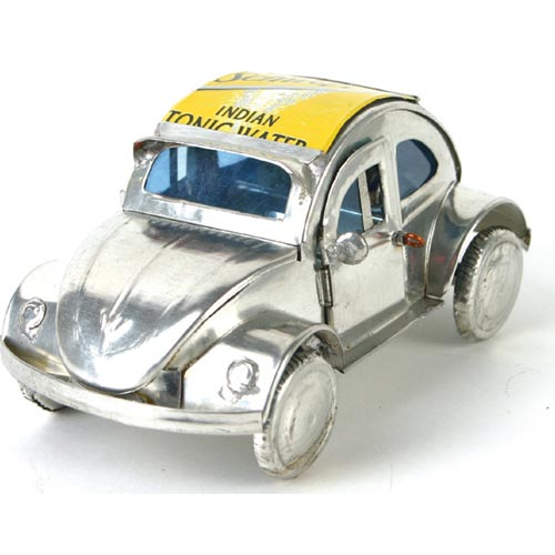 VW Beetle recycled cans silver colour 10cm