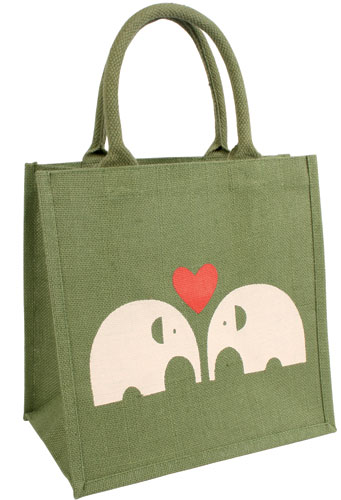 Jute shopping bag, green with elephants