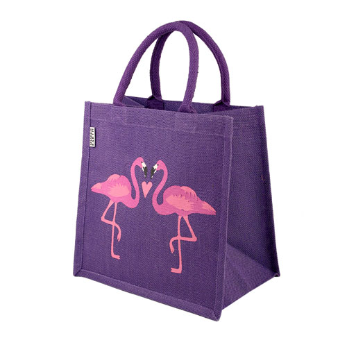 Jute shopping bag, square, 2 flamingos